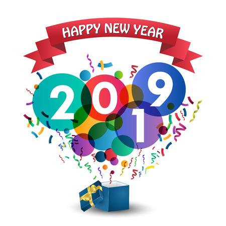 Feliz año nuevo 2019 celebración con caja de regalo.