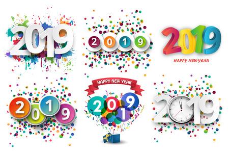 Obchody szczęśliwego nowego roku 2019 z kolorowe farby w sprayu i tło szablonu konfetti. Ilustracja wektorowa papieru.