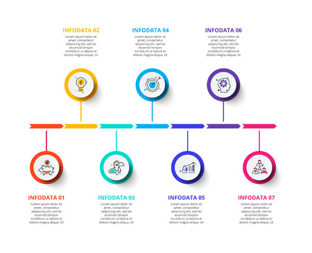 Circle business graphic elements. Business process infographics with 7 steps, parts or options. Abstract presentation template. Modern vector infochart layout design.
