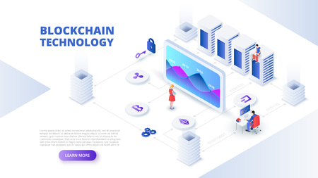 Blockchain and cryptocurrency design concept with people. Isometric vector illustration. Landing page template for web. Ilustração