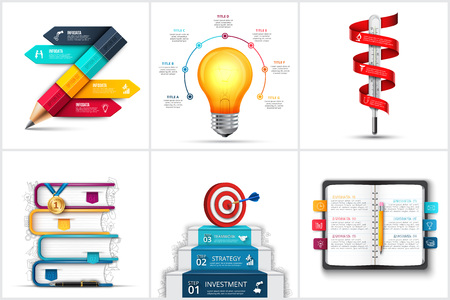 Infographic set with realistic pencil, books, lightbulb, stairs, termometer and other elements. Template for education, startup, medical and business presentation.