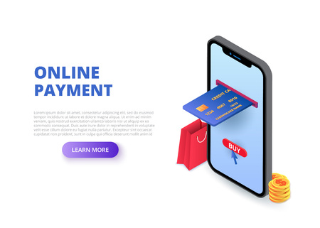 Online payment design concept with sitting man. Isometric vector illustration. Landing page template for web. Ilustração