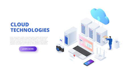 Cloud technologies design concept with people. Isometric vector illustration. Landing page template for web. 矢量图像