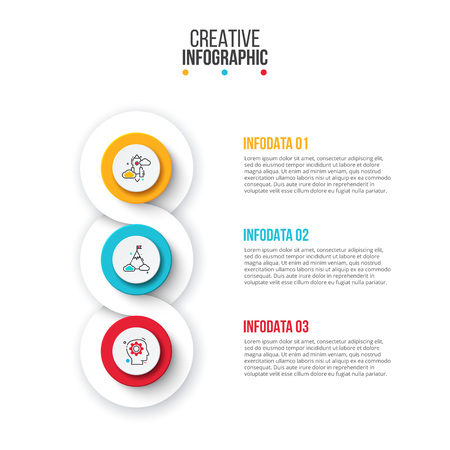 Creative concept for infographic. Circles with 3 steps, options, parts or processes. Vector business template for presentation.