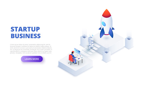 Start up design concept with astronaut and working businessman. Isometric vector illustration. Landing page template for web. Ilustração