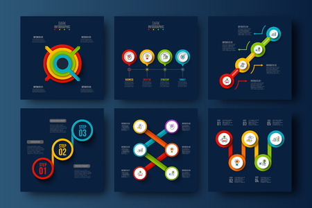 Vector dark infographic set. Can be used for workflow layout, diagram, business step options, banner, web design.