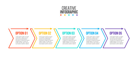 Thin line minimal infographic design template with arrows and 5 options or steps. Can be used for workflow layout, diagram, number options, web design.