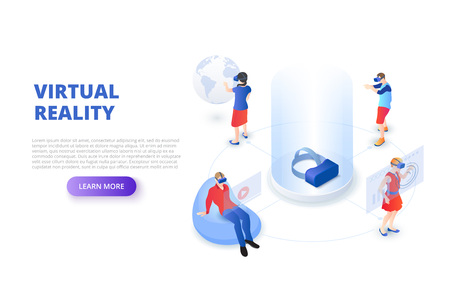 Virtual reality design concept with glasses and people playing and learning. Isometric vector illustration. Landing page template for web. Ilustração