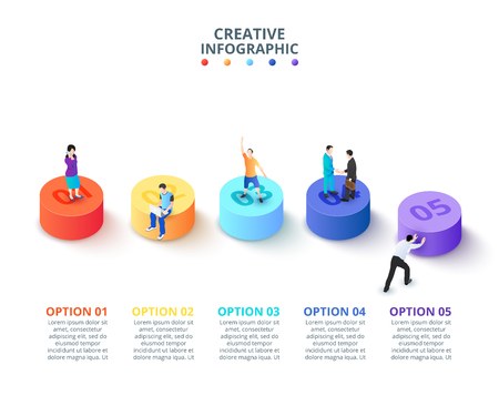 Vector 3d gradient cylinders with people. Business template for presentation. Creative concept for isometric infographic with 5 steps, options, parts or processes.