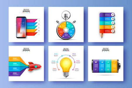 Vector infographic set. Can be used for business, startup, education and sport presentation. Ilustração