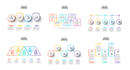 Vector infographics set. Business concept with options, parts, steps or processes. Can be used for workflow layout, diagram, number options, web design. Ilustração