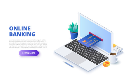Online banking withlaptop and credit card. Isometric vector illustration. Landing page template for web.