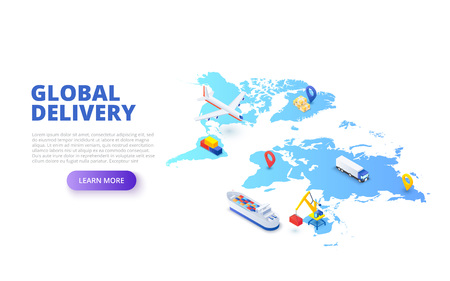 Global delivery concept with map, plane and tanker. Isometric vector illustration. Landing page template for web.