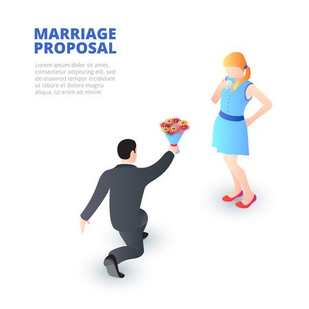 Concepto de propuesta de matrimonio con hombre arrodillado y una niña feliz. Ilustración vectorial isométrica. Ilustración de vector