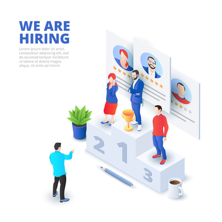 Hiring and recruitment isometric vector illustration. Recruit resources, research and choice. Application for employee hiring. Ilustração