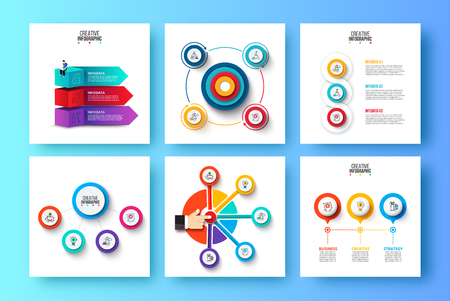 Abstract elements of graph, diagram with 3, 4 and 5 steps, options, parts or processes. Vector business template for presentation. Creative concept for infographic.