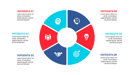 Flat circle element for infographic with 6 parts, options or steps. Template for cycle diagram, graph, presentation and chart. Vectores