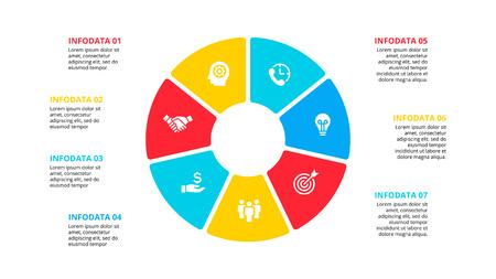 Płaski element okręgu do infografiki z 7 częściami, opcjami lub krokami. Szablon schematu cyklu, wykresu, prezentacji i wykresu. Ilustracje wektorowe