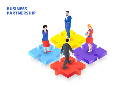 Vector isometric puzzle with people. Business partnership concept. Ilustração