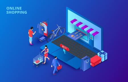 Dark isometric online shopping concept with laptop, people and credit card. Landing page template.
