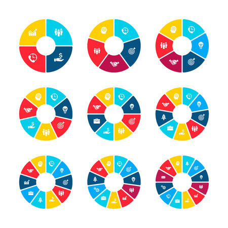 Circle infographics with 4, 5, 6, 7, 8, 9, 10, 11 and 12 steps, options or parts. Business concept for presentation Illusztráció