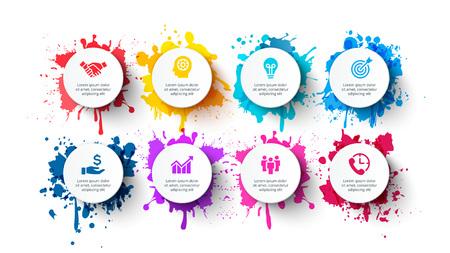 Vektorweiße Kreise mit Farbspritzern. Infografik-Vorlagen mit 8 Optionen Vektorgrafik
