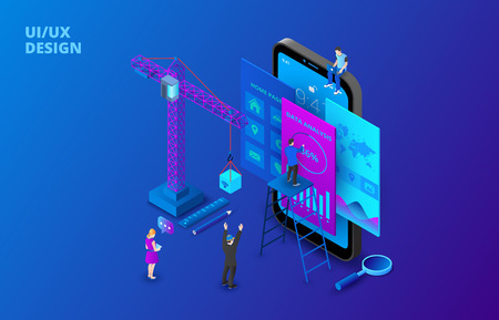 UI design concept with smartphone, crane and people. Isometric vector illustration. Landing page template for web.