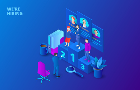 Hiring and recruitment design concept with pedestal and people. Isometric vector illustration. Landing page template for web.