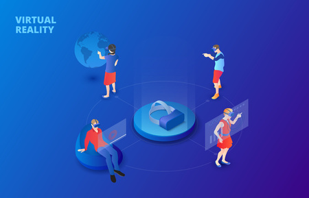 Dark virtual reality design concept with glasses and people playing and learning. Isometric vector illustration. Landing page template for web.