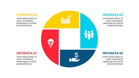 Infographie Cirle avec 4 options ou étapes. Élément plat abstrait du diagramme de cycle. Modèle d'affaires de vecteur pour la présentation. Vecteurs
