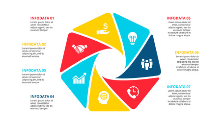 Vector cycle infographic. Diagram with 7 options or steps. Presentation slide. Ilustração
