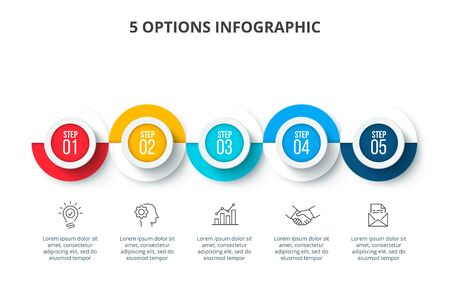 Abstract infographics number options template. Timeline presentation with 5 options, parts or processes. Ilustração