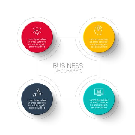 Abstract infographic with 4 circles. Template for illustration business step options.
