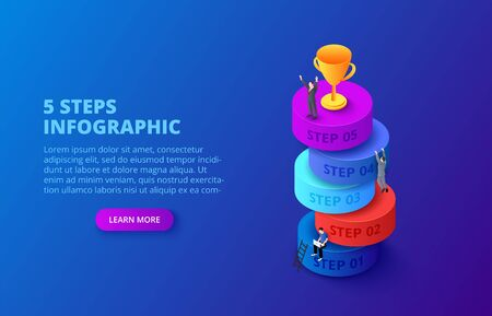 Vector isometric cylinders with people and gold cup for start up infographic on a dark blue background. Growth concept with 5 steps, options, parts or processes.