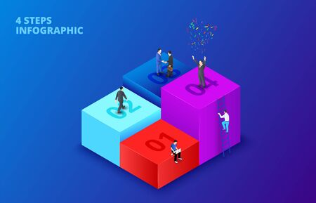 Vector isometric cubes with people infographic on a dark blue background. Growth concept with 4 steps, options, parts or processes. The man climbs the ladder.