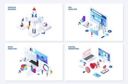 Isometrische 3D-Illustrationen eingestellt. Startup, SEO und Datenanalyse, digitales Marketing mit Charakteren. Vektorgrafik