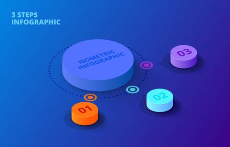 Vector 3d gradient cylinders on a dark blue background. Business template for presentation. Creative concept for isometric infographic with 3 steps, options, parts or processes.