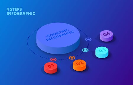 Vector 3d gradient cylinders on a dark blue background. Business template for presentation. Creative concept for isometric infographic with 4 steps, options, parts or processes. Иллюстрация