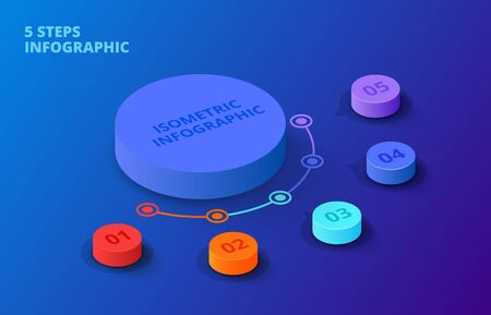 Vector 3d gradient cylinders on a dark blue background. Business template for presentation. Creative concept for isometric infographic with 5 steps, options, parts or processes. Иллюстрация