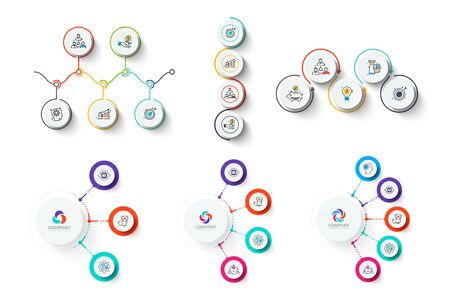 Set with white circles and thin lines. Clean infographic elements with 3, 4 and 5 options. Illustration for data visualization and analysis Ilustração