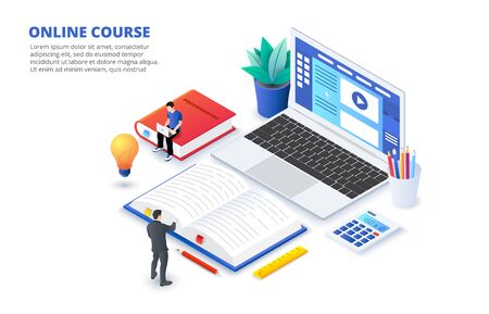 Online education concept with characters. Can use for web banner, infographics, hero images. Flat isometric vector illustration