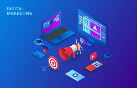 Digital marketing design concept with computer, hand speaker and smartphone. Isometric vector illustration on a dark blue backgound. Landing page template for web.