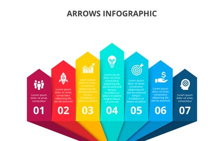 Seven arrows infographic elements. Business template for presentation. Vector concept with 7 options or steps. Ilustração