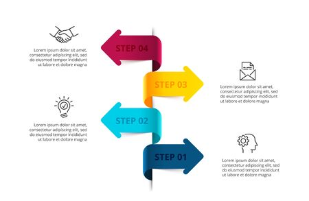 Four arrows infographic elements. Business template for presentation. Vector concept with 4 options or steps.
