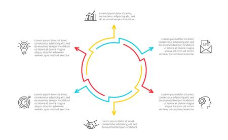 Thin line cycle infographic with arrows. Modern concept design template with 6 options, steps or parts. Flat vector illustration for business presentation. Ilustração