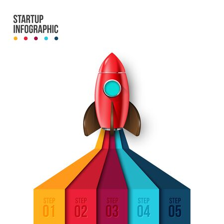 Vector rocket infographic with 5 options. Startup illustration