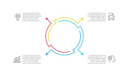 Thin line cycle infographic with arrows. Modern concept design template with 4 options, steps or parts. Flat vector illustration for business presentation. Ilustração