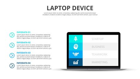 Infographic design with laptop. Business presentation with 4 options, steps or parts. Illustration