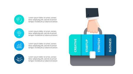 Hand with briefcase infographic. Business portfolio concept. Abstract presentation slide with 4 options. Ilustração
