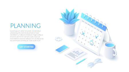 Isometric planning schedule and calendar concept. Time management concept. Illustration for web banner layout template. Ilustração